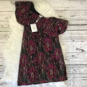 NEW Wayf burgundy floral one shoulder dress small